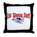 Eat Sleep Surf Throw Pillow