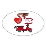 I Love 2 Scoot Oval Sticker