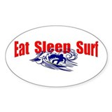 Eat Sleep Surf Oval Decal