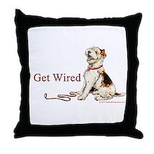 Wire Fox Terrier Dog Walk Throw Pillow