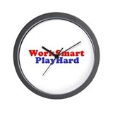 Work Smart Play Hard Wall Clock