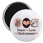 Peace Love Shakespeare Magnet