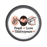 Peace Love Shakespeare Wall Clock