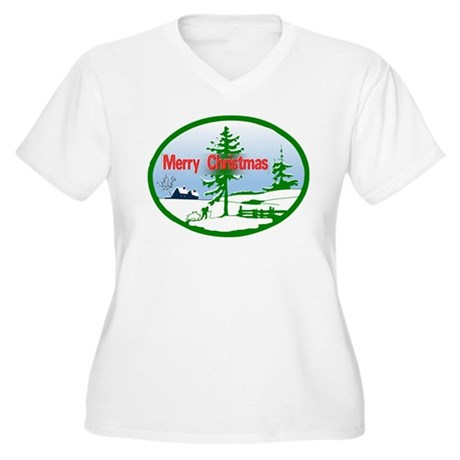 Winter Scene Women's Plus Size V-Neck T-Shirt