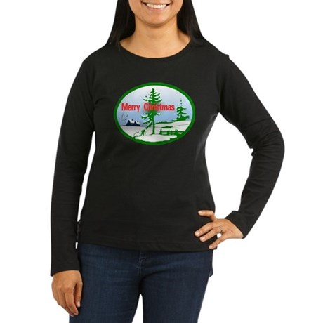 Winter Scene Women's Long Sleeve Dark T-Shirt