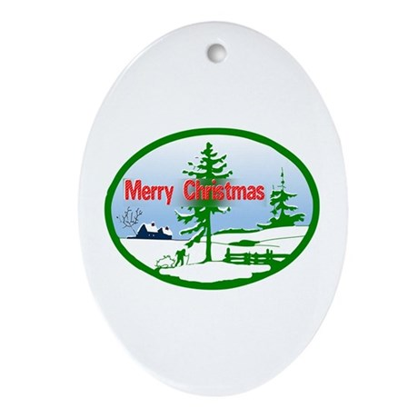 Winter Scene Oval Ornament