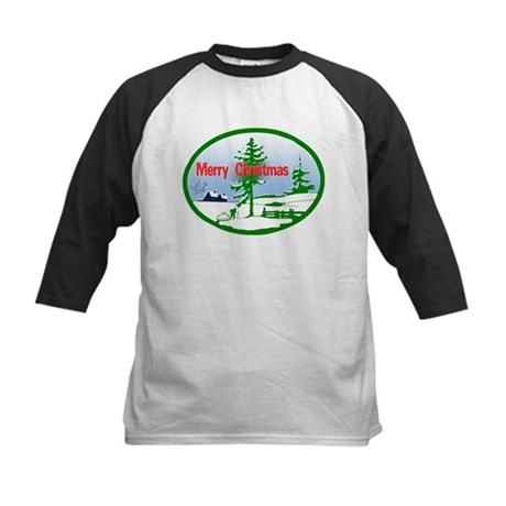 Winter Scene Kids Baseball Jersey