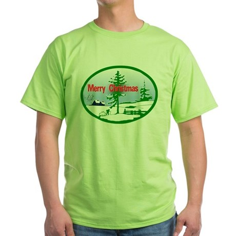 Winter Scene Green T-Shirt