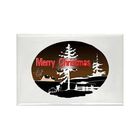 Dark Snow Scene Rectangle Magnet
