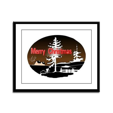 Dark Snow Scene Framed Panel Print