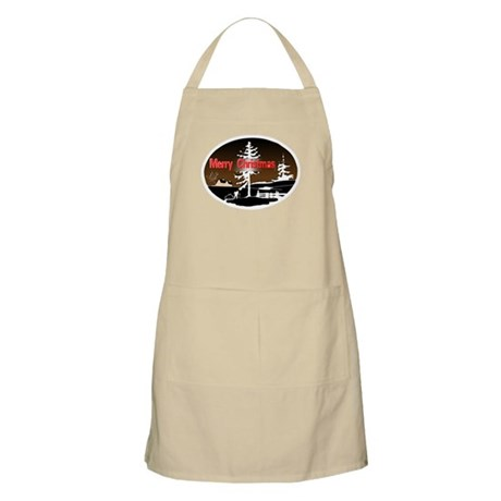 Dark Snow Scene BBQ Apron