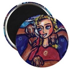 DACHSHUND lady cell phone Magnet