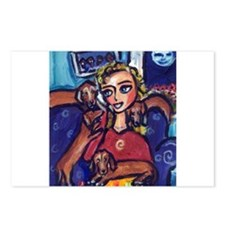 DACHSHUND lady cell phone Postcards (Package of 8)