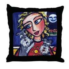 Schnauzers sunny lady Throw Pillow