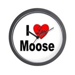 I Love Moose for Moose Lovers Wall Clock