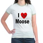 I Love Moose (Front) Jr. Ringer T-Shirt