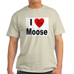 I Love Moose for Moose Lovers Ash Grey T-Shirt