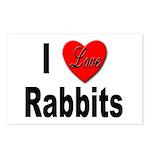 I Love Rabbits for Rabbit Lovers Postcards (Packag