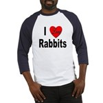 I Love Rabbits (Front) Baseball Jersey