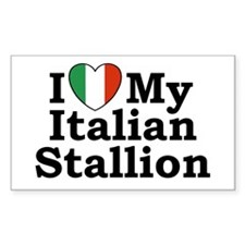 I Love My Italian Stallion Rectangle Decal