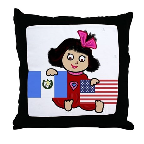 Guatemala Girl Throw Pillow