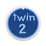 twin 2(boy) Keepsake Ornament (Round)