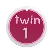 twin 1(girl) Keepsake Ornament (Round)