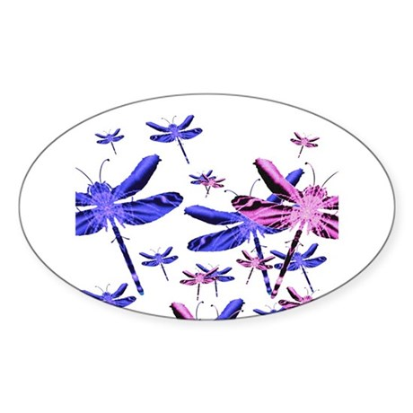 Dragonflies Oval Sticker