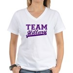 Team Hillary Purple Women's V-Neck T-Shirt