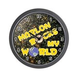Marlon Rocks My World (Gold) Wall Clock