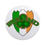 Ireland Badge with Shamrock Ornament (Round)