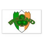 Ireland Badge with Shamrock Rectangle Sticker