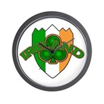 Ireland Badge with Shamrock Wall Clock