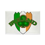 Ireland Badge with Shamrock Rectangle Magnet (10 p