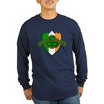 Ireland Badge with Shamrock Long Sleeve Dark T-Shi