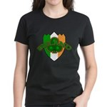 Ireland Badge with Shamrock Women's Dark T-Shirt