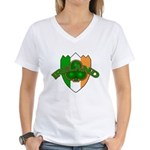 Ireland Badge with Shamrock Women's V-Neck T-Shirt