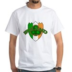 Ireland Badge with Shamrock White T-Shirt