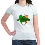 Ireland Badge with Shamrock Jr. Ringer T-Shirt