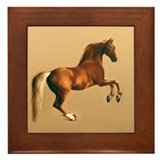 Palomino stallion, horse art. Framed Tile