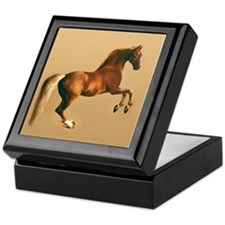 Palomino stallion, horse art. Keepsake Box