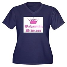 Bahamian Princess Women's Plus Size V-Neck Dark T-