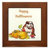 Happy Halloween Bulldog Framed Tile