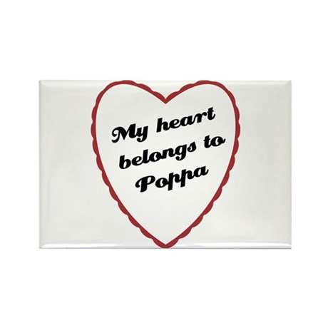 My Heart Belongs to Poppa Rectangle Magnet (100 pa