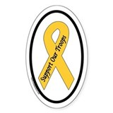 Support Our Troops Yellow Ribbon Oval Decal