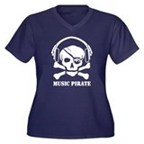 Music Pirate Women's Plus Size V-Neck Dark T-Shirt