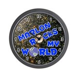 Marlon Rocks My World (Blue) Wall Clock