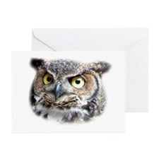 Great Horned Owl Face Greeting Cards (Pk of 20)
