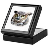 Great Horned Owl Face Keepsake Box
