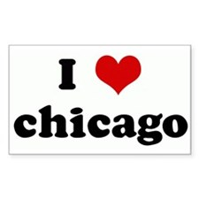 I Love chicago Rectangle Decal